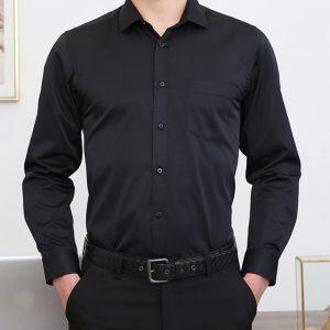 商務職業銷售印製綉字Logo單袋黑色襯衫