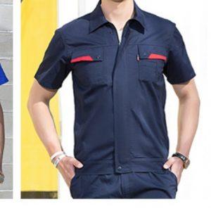 B303定制工作服套裝短袖撞色工程服舒適透氣耐磨