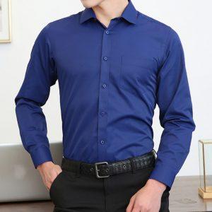 B306單袋藍色長袖裇衫訂製綉字Logo保安工作服