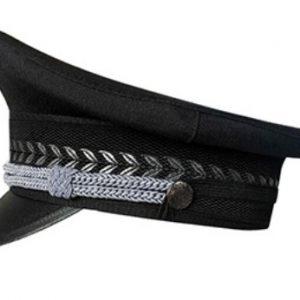 B315 警察黑色大蓋帽,前幅繡花織布, 前面鴨舌邊