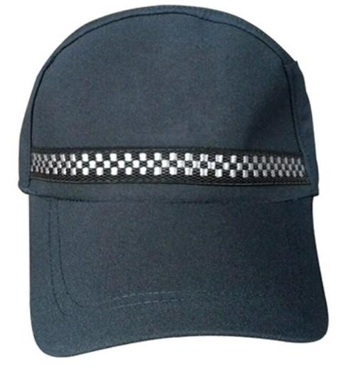 B317 護衛長舌帽,黑白織帶, 滌卡布料