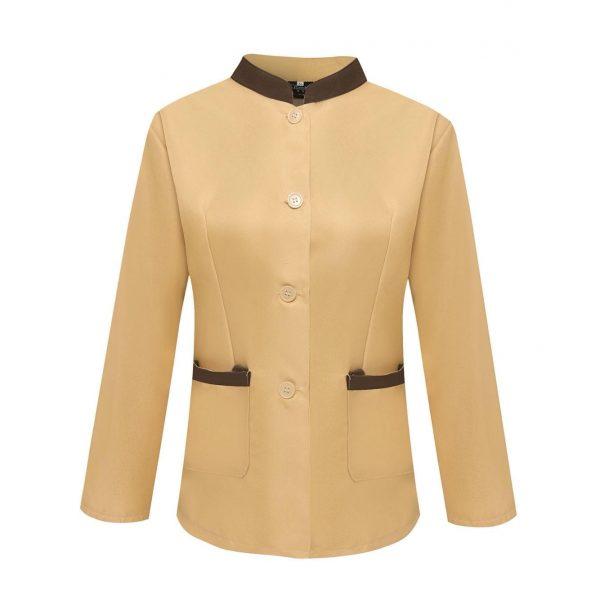 C900清潔女長袖企領衫卡丹皇杏色配深啡色邊