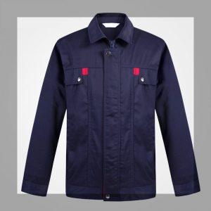 D670工程長袖反領上衫前胸袋配紅色邊直袖