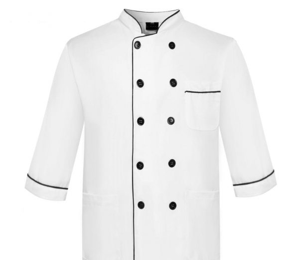 K130大廚師衫前胸袋孖襟黑色鈕中手袖
