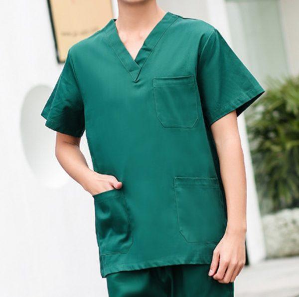 N105深綠淨色醫學醫生護士診所套裝