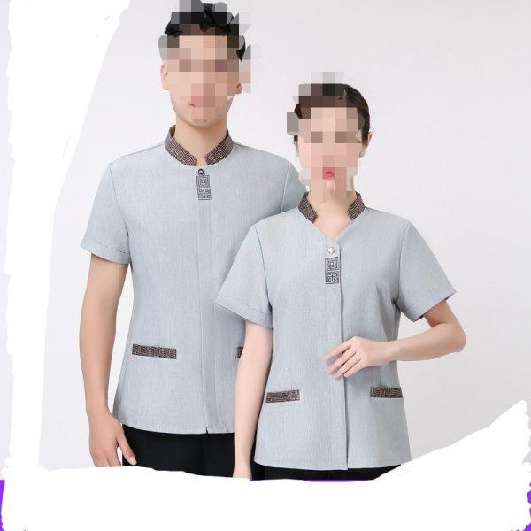 C940 男女清潔企領撞色短袖衫